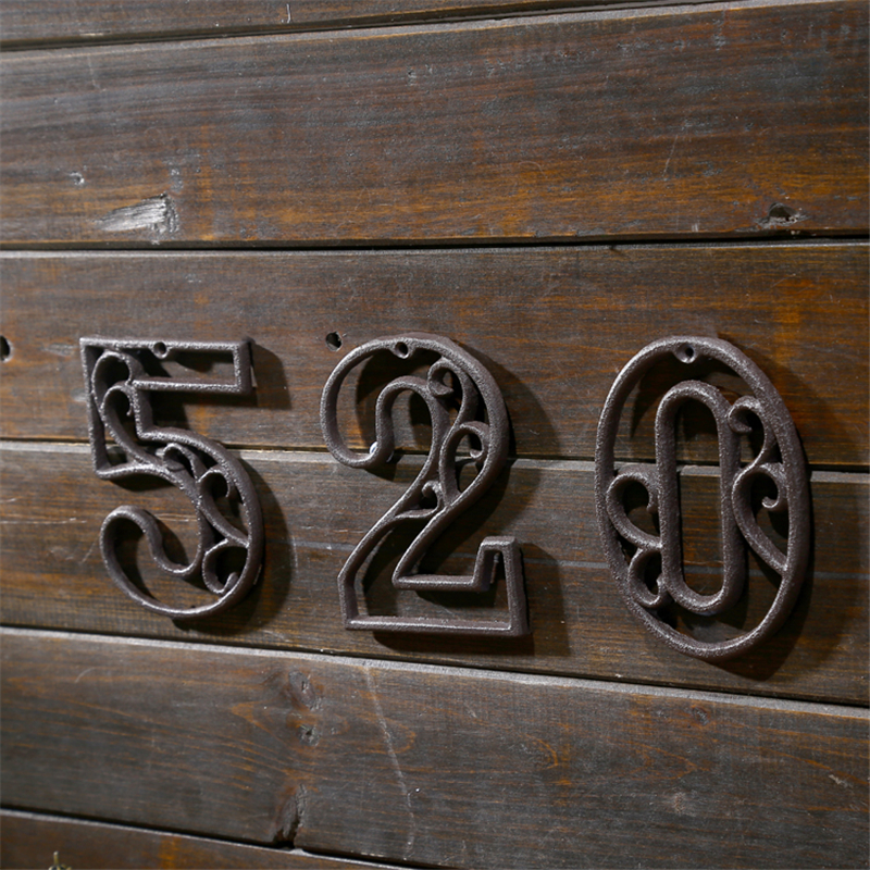 Industrial Cast Iron House Number American Style Door Numbers Address Customized Number For Home Restaurant Wall Living Room(China)