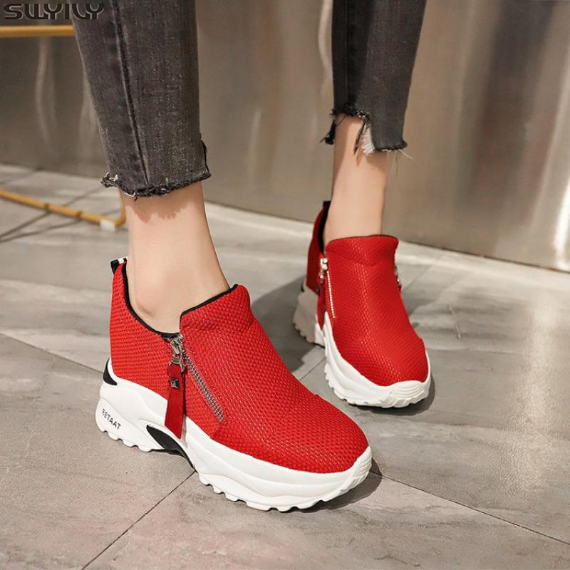 SWYIVY Canvas Shos Woman Sneakers High Heel Zip Chunky Sneakers Women New 2020 Summer Wedges Shoes For Women Solid Ladies Shoe