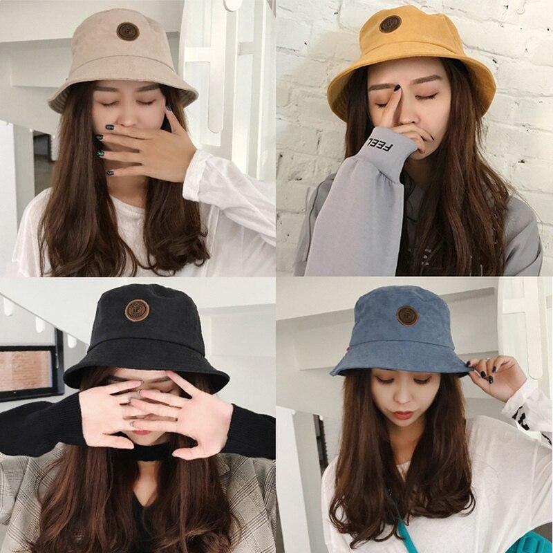 2019 New Korean Women Universal Bucket Hats Creative Fashion Outdoor Labeling Letters Outdoor Leisure Basin Cap  X