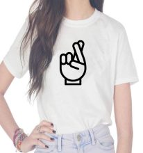 Fingers Crossed Print Women tshirt Cotton Casual Funny t shirts For Lady Top Tee Hipster(China)