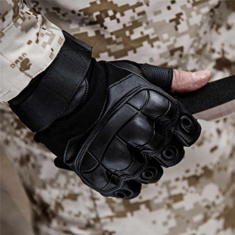 Ordu taktik parmaksız askeri sert Knuckle yarım parmak eldiven Airsoft Paintball bisiklet çekim koruma dişli erkek eldiven