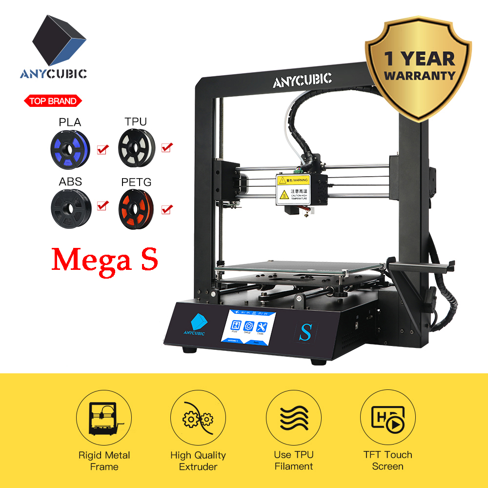 ANYCUBIC i3 Mega S 3D Printer Kit Upgrade i3 Mega Huge Build Volume Rack Rigid Metal Frame FDM 3d Printer impresora 3d Drucker3D Printers   -