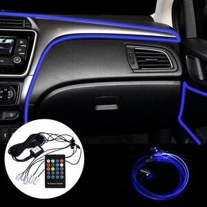 Image 2 - FORAUTO 6 метровый волоконно оптический автомобиля RGB Атмосфера лампы для различных световых эффектов с приложение Управление естественного освещения салона светильник Авто декоративный светильник
