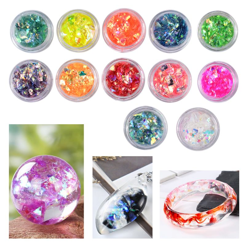 12 Box/set Manicure Shell Cellophane Colorful Candy Aurora Papers Hard Epoxy Filling Nail Polish Adhesive Decorative Dotted Hand
