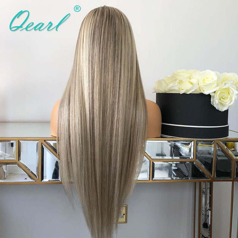 Closeout Deals×Wig Human-Hair Blonde Hairline Highlights-Color Grey Straight Full-Lace 150%Pre-Plucked