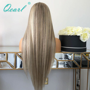 Image 5 - Human Hair Full Lace Wig Grey Ashy Blonde Highlights Color Straight Lace Wigs Remy Hair 130% 150% Pre plucked Hairline Qearl