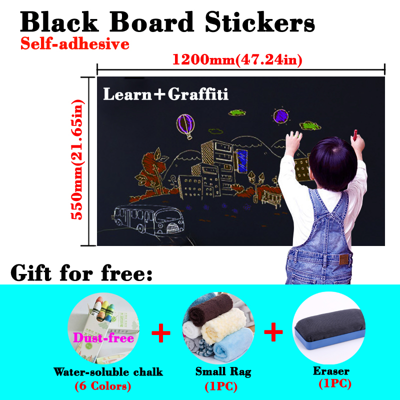 Size 550*1200mm Blackboard Stickers Self-adhesive Kid Drawing Wall Sticker Draw Erasable Chalkboard Learning Teaching