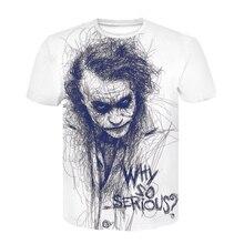 Новая белая крутая футболка с аниме джокером, мужская летняя футболка Харадзюку, Повседневная футболка с вырезом лодочкой, 3d футболка Homme De Marque