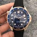 Nova marca de luxo masculino automático mecânico rosa ouro preto james bond 007 borracha vidro safira cerâmica volta ver através do relógio