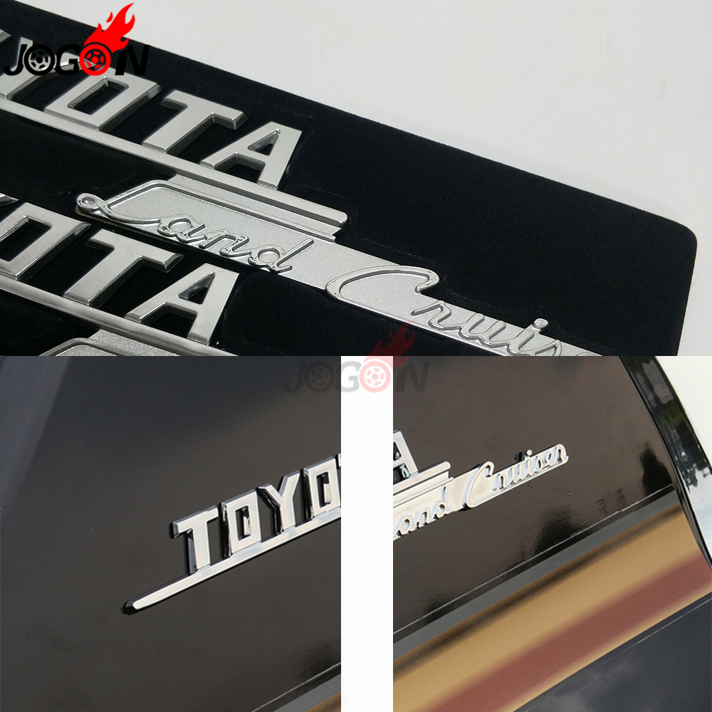 For <font><b>Toyota</b></font> Land Cruiser LC74 <font><b>LC76</b></font> LC78 LC79 LC100 LC200 Car Side Rear Logo 3D Executive Lounge Badge Sticker Trim Chrome & Alloy image