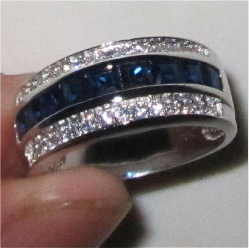Men's Deluxe 10K white Gold Princess-cut blue Sapphire Crystal gemstone Band ring Wedding Rings for Men Women jewelry