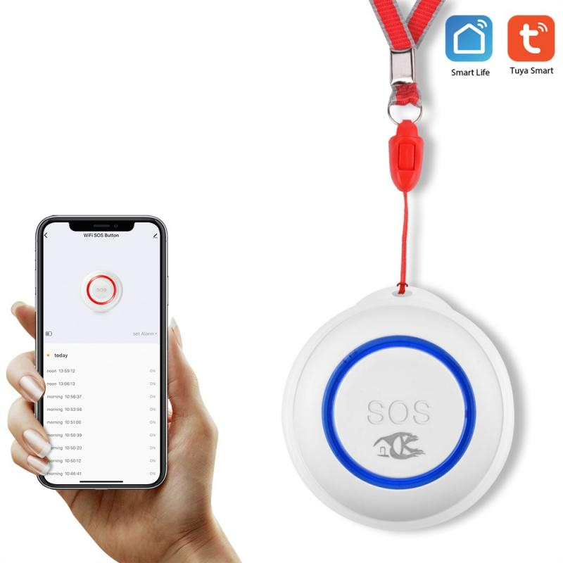 tuya wifi SOS button portable elder Emergency Alarm Button with rope real time push alarm to APP Simple operation one-key alarm
