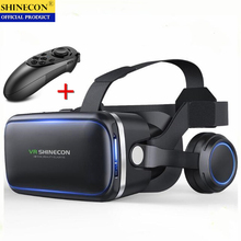 الأصلي VR الواقع الافتراضي ثلاثية الأبعاد نظارات صندوق ستيريو VR جوجل كرتون سماعة خوذة ل IOS أندرويد الهاتف الذكي ، بلوتوث الروك