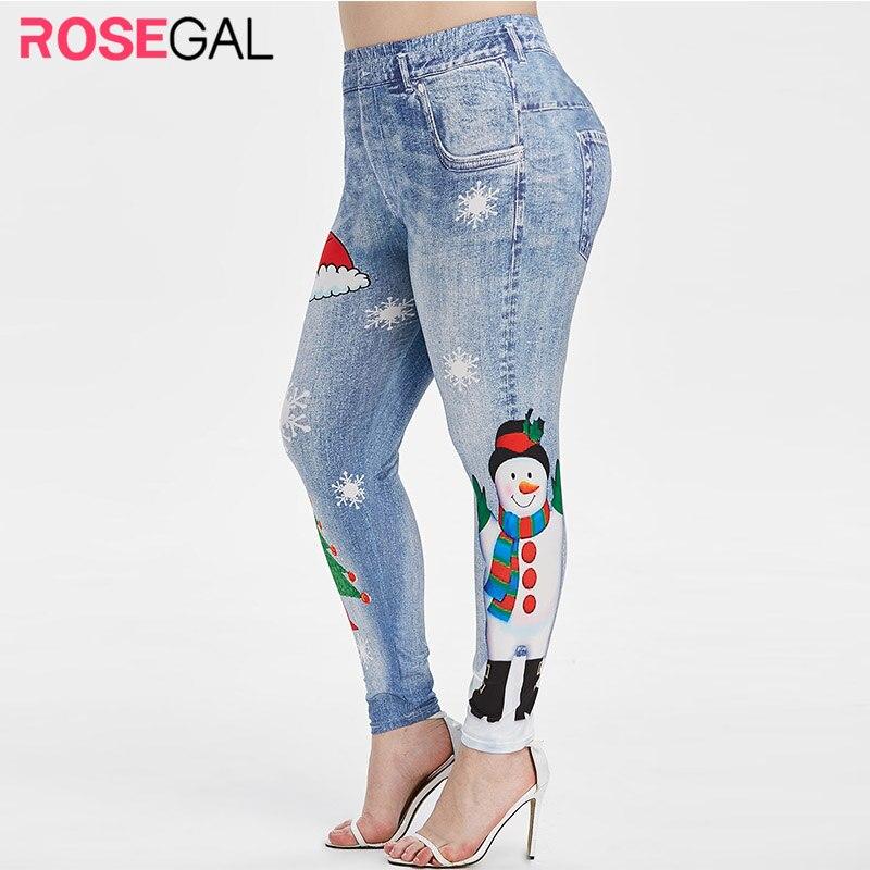 Fashion Plus Size Christmas Jeggings Women Snowman Snowflake Print Leggings 2019 Winter High Waist Skinny Leggings Ladies Bottom