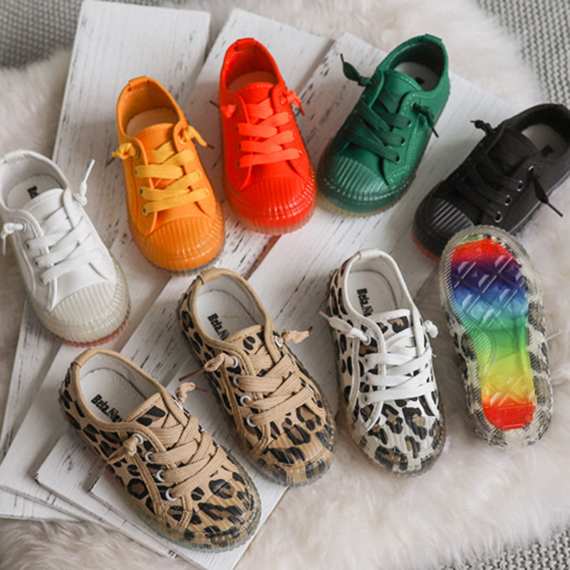 Autumn New Girls Sports Shoes Low top Casual Shoes Fashion Leopard Print Children's Shoes Soft Bottom Non slip Canvas B128|Sneakers| |  - title=