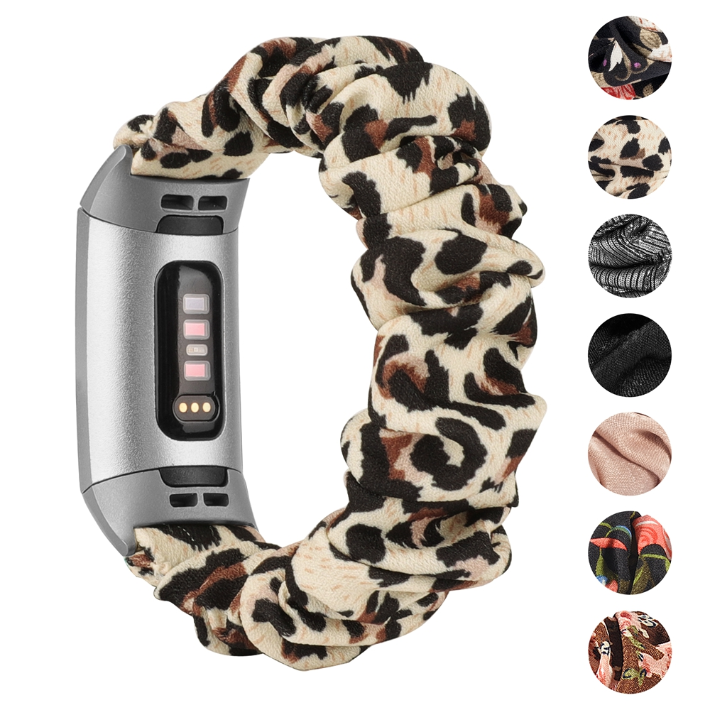 Toyouths Printed Fabric Band for Fitbit Charge 3 Women Sport Elastic Strap Replacement Bracelet Accessories for Fitbit Charge 4 5