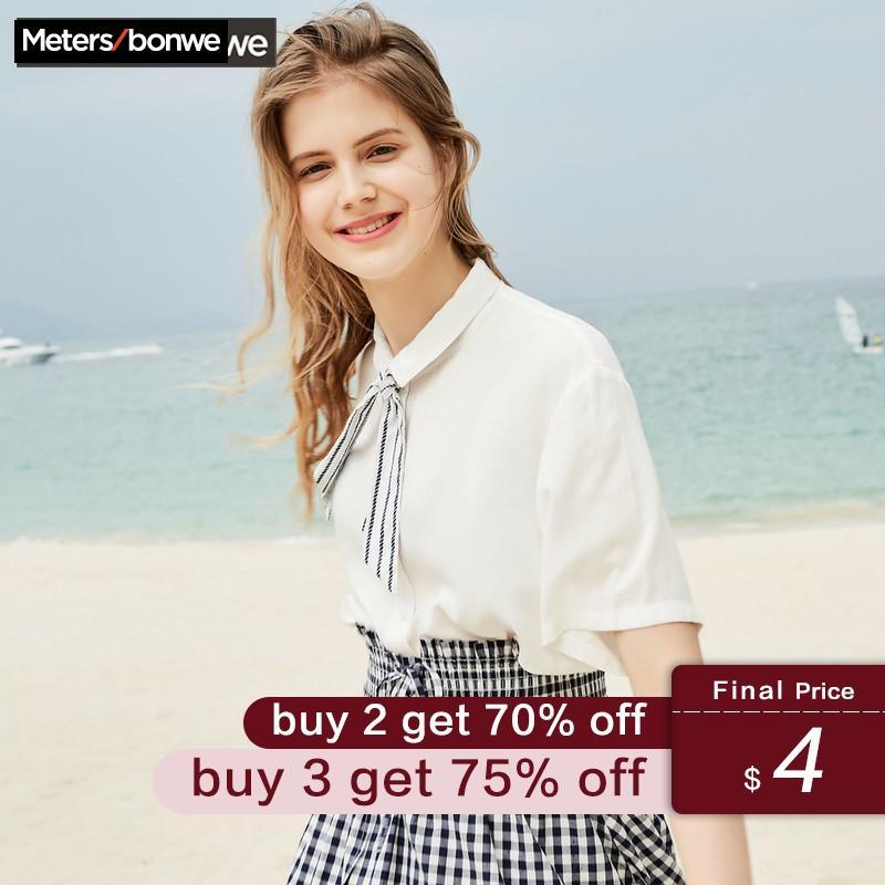 METERSBONWE  Short Sleeve Shirt For Female Blouse Love Embroidery Japanese Shirt Lovely Students Summer New Arrival