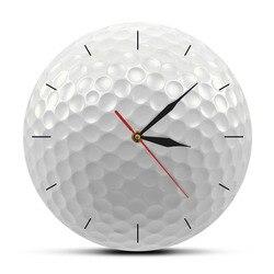 Bola de golfe redonda sem moldura relógio de parede silencioso não ticking visão 3d decorativo relógio de parede esportes golf club arte da parede presente dos golfistas