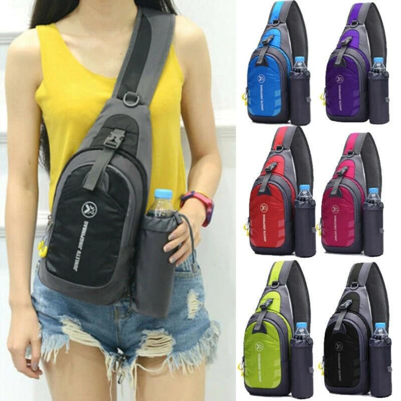 Women Men Nylon Shoulder Chest Cycle Sling Daily Bag Crossbody Travel Backpack
