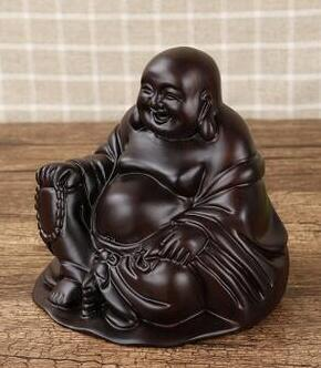 Ebony Buddha sit Lucky Hand carved wooden crafts Maitreya Buddha Home Furnishing automobile