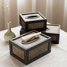 Креативная прочная деревянная гостиная коробка ткани бамбуковый Плетеный лоток Ретро бумажная насосная коробка ротанга деревянный лоток для салфеток WF7261145