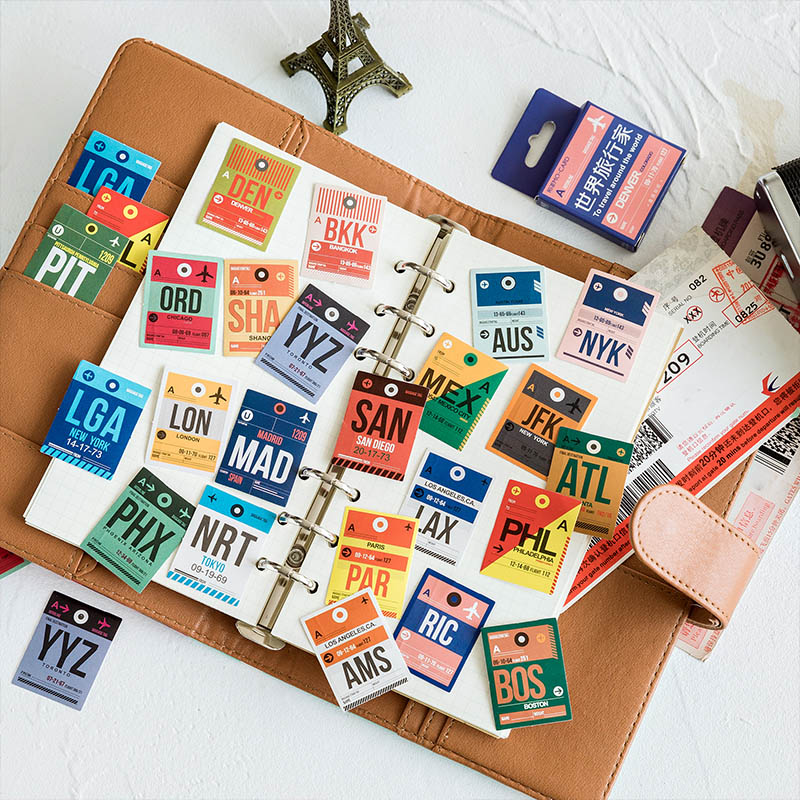 46Pcs Vintage Label Decor Sticker Cute Travel Stationery Stickers Bullet Journal Sticker For Kids DIY Scrapbooking Diary Albums