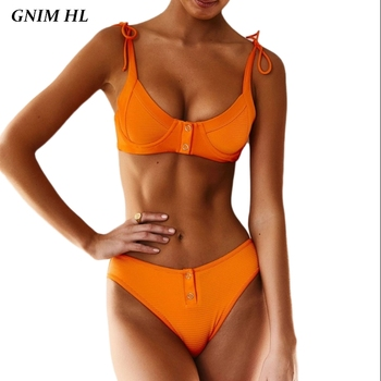 Push Up Bikini Swimwear Women 2019 High Waist Brazilian Swimsuit Female Summer Beachwear Solid Bathing Suit Two Pieces Biquini