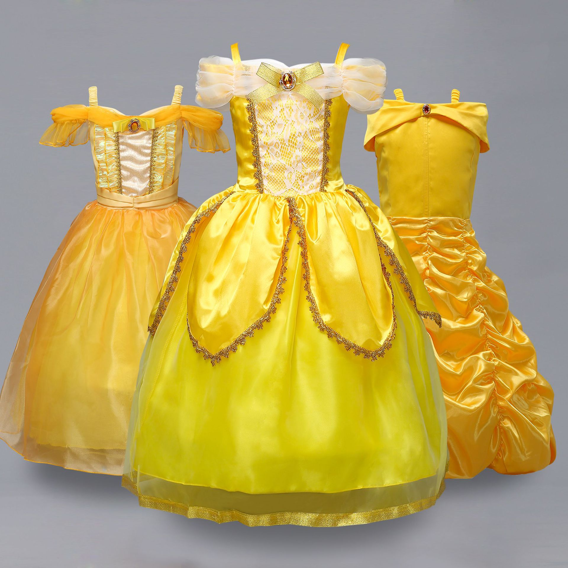 Europe And America Children Camisole Million Christmas Princess Belle Dress Beauty And The Beast Cosplay Anime Costume