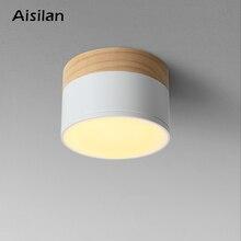 Aisilan LED tavan spot ışık tavan lambaları için aydınlatma armatürleri led 5W ahşap downlight spot modern ahşap oturma ışık