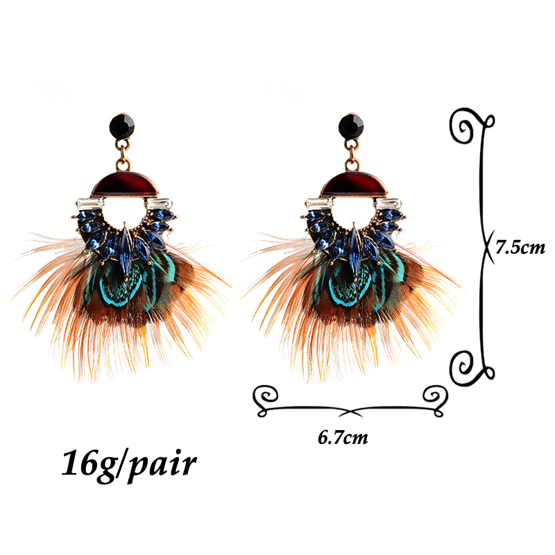 New Arrival Luxury Crystal Drop Earrings High-Quality Vintage Handmade Feather Earring Jewelry Wholesale Accessories For Women