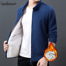 2019 New Fashion Thick Velvet Wind Breaker Fleece Jackets Mens Autumn Winter Trend Overcoat Slim Fit Casual Coat Men Clothing(China)