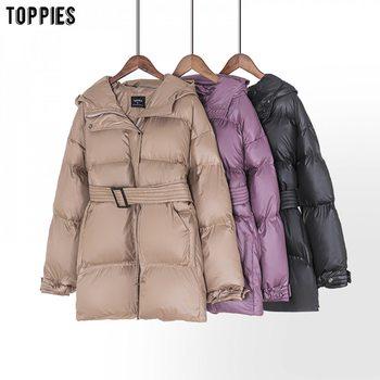 Toppies hiver à capuche veste manteau femmes Parkas ceinture bouffante veste surdimensionné vêtements d'extérieur femmes vêtements 2020 1