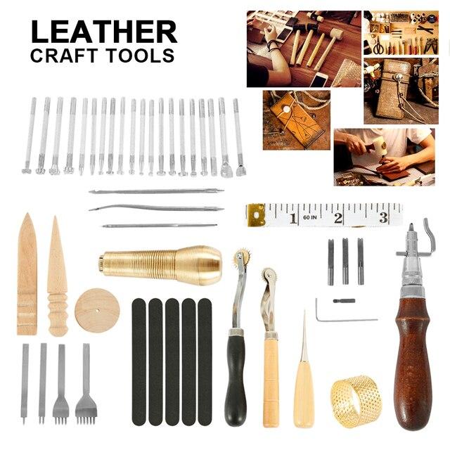 59 Cái/bộ Da Thủ Công Cụ Tay May Khâu Đấm Chạm Khắc Công Việc Yên Xe Leathercraft Phụ Kiện