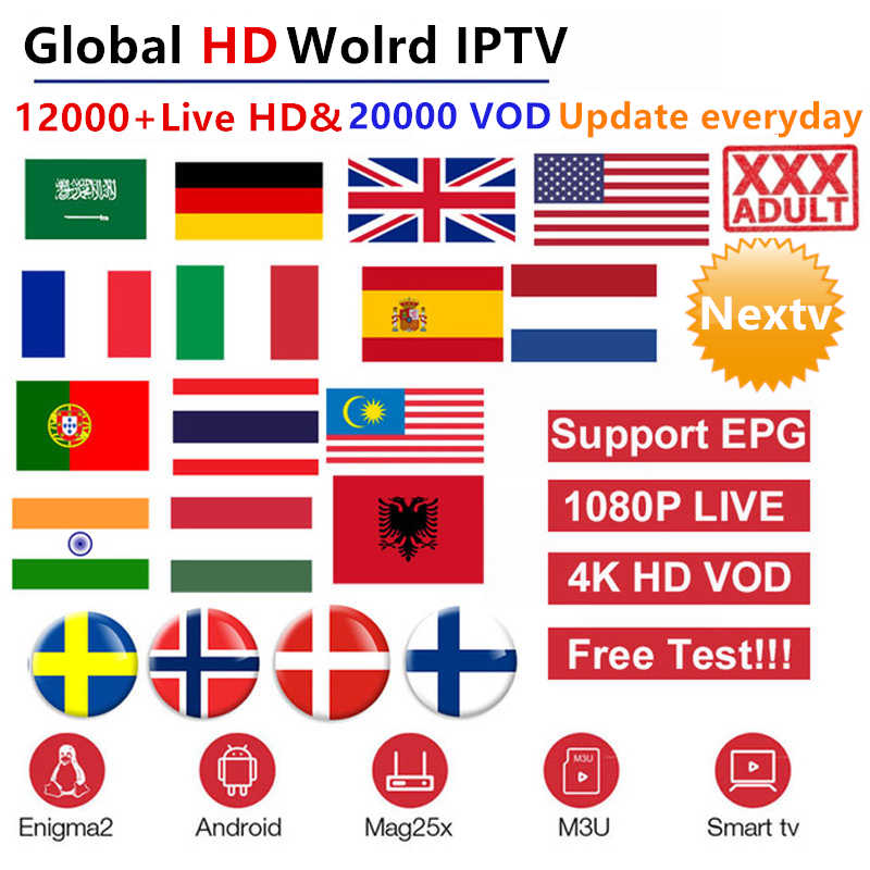 World Arabic iptv subscription 10000+HD 4k live android tv box europe french spain German USA UK Portugal smart IPTV M3U mag