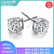 Free Sent Certificate Silver 925 Stud Earrings Women Girl Gift Earrings 6mm 8mm Lab Diamond Earring Sterling Silver 925 Jewelry
