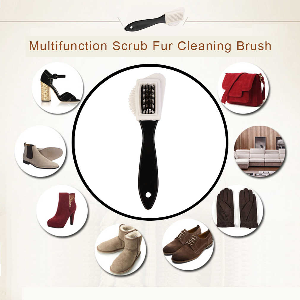 Multifuncional piel cepillo para limpiar calzado tamaño portátil botas de nieve gamuza zapato cepillo Herramientas de limpieza