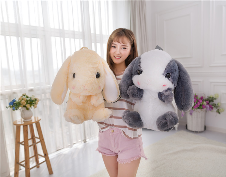 Cute Long Ear Bunny Bag Fluffy Rabbit Fur Pompoms Chain Bag Women Cartoon Rabbit Bag Fluffy Bunny Shoulder Plush backpack - 5