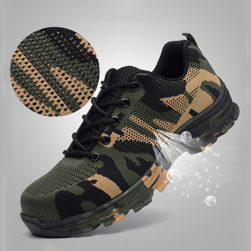 PUIMENTIUA Sneakers Shoes Air-Safety-Boots Steel-Toe Indestructible Puncture-Proof Breathable title=