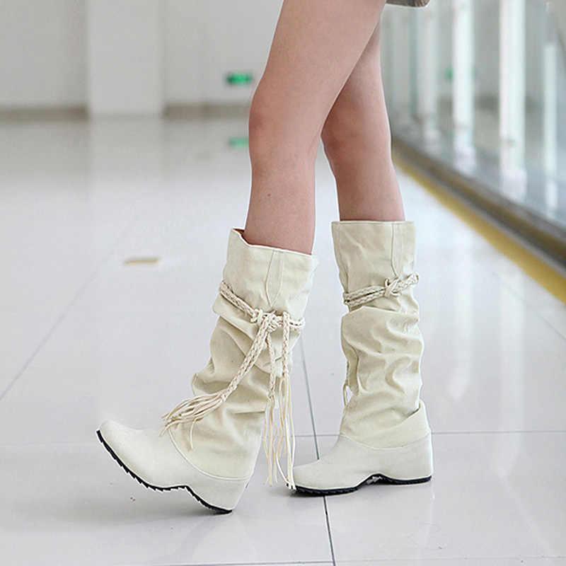 Yeni kadın botları sonbahar kış saçak yarım diz yüksek çizmeler bayanlar püskül polar ayakkabı kadın Botas Feminina artı boyutu 35 -43
