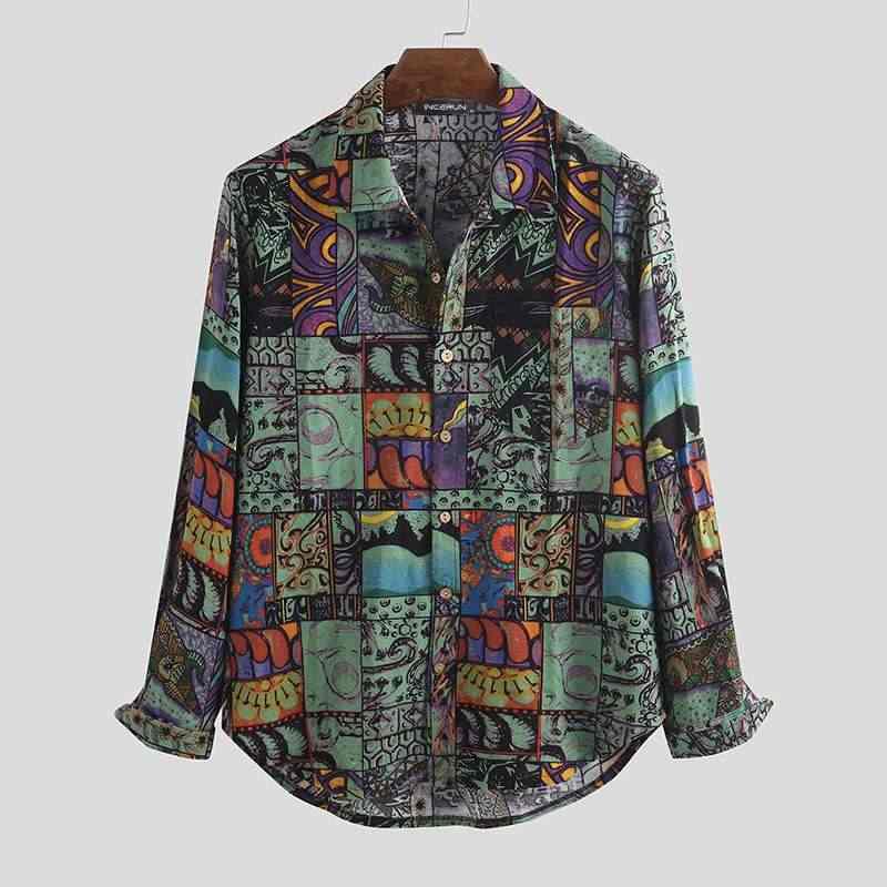 Vintage Männer Casual Shirt Gedruckt Lange Hülse Taste Revers Hawaiian Streetwear Bluse Lose 2020 Marke Mens Strand Shirts Camisa