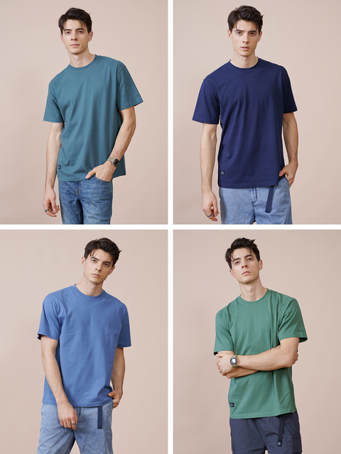 SIMWOOD 2021 Summer New 250g 100% Cotton Fabric T-shirt Men High Quality Solid Color Drop Sleeve Loose Tshirts Oversize Tops 3