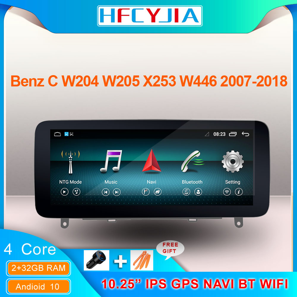 "Pantalla táctil IPS estéreo de 10,25 ""para Mercedes Benz C W204 W205 2007-2018, Android 10, sistema 2 + 32GB de RAM, WIFI, BT, GPS y receptor Navi"