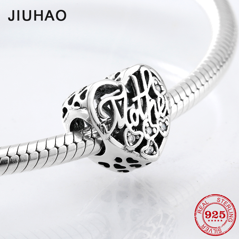Hot Openwork 925 Sterling Silver Letter Mother Charm Beads Fit Original Pandora Charms Bracelet Jewelry Making Mother's Day Gift