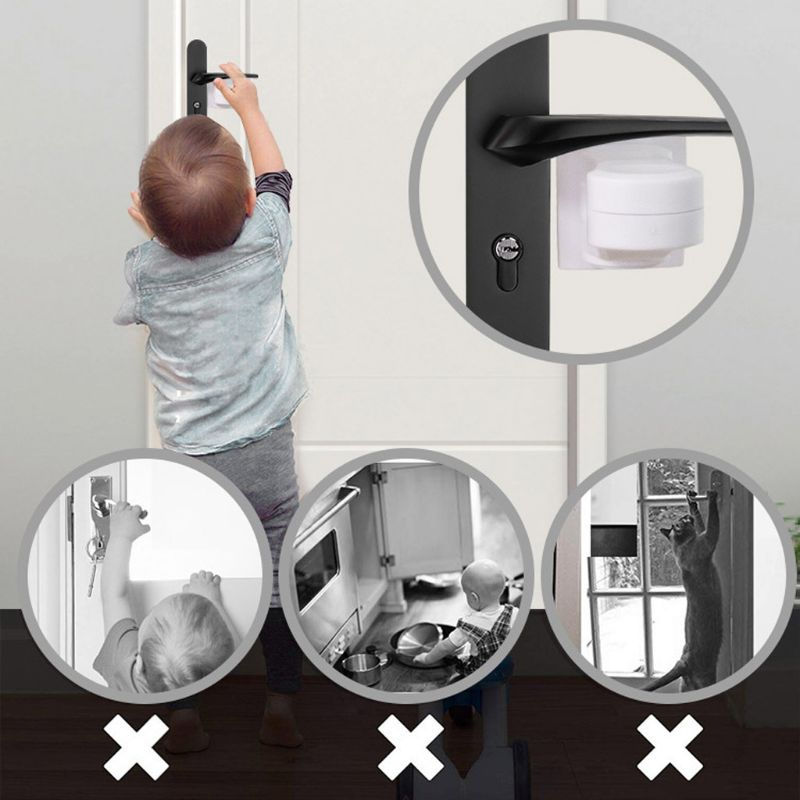 2 Pack Baby Safety Lock Door Lever Lock Safety Child Toddler Proof Doors Adhesive Lever Handle Compatible