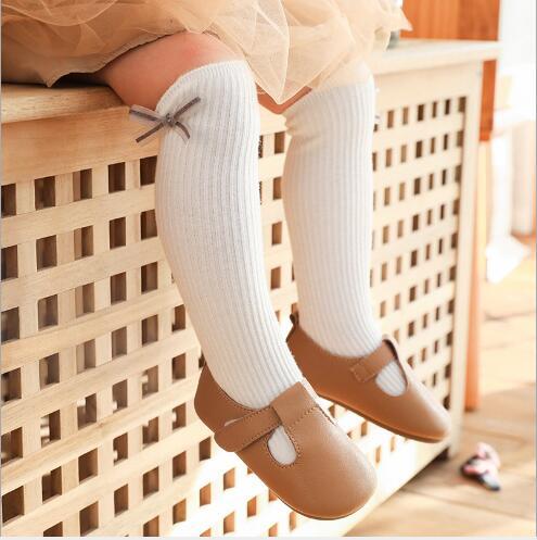 1-8Y 2021 New children's socks double needle bowknot girls socks boneless loose mouth combed cotton baby tube socks 2