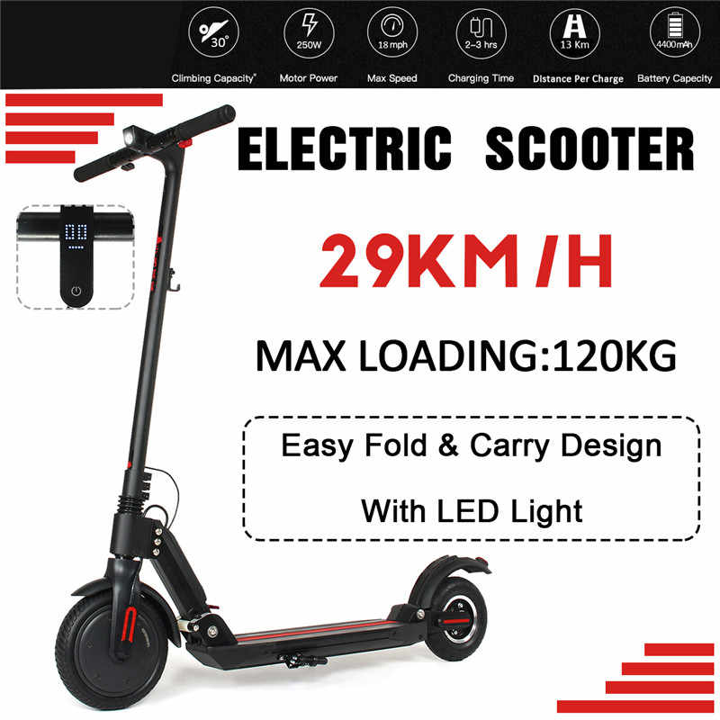 Adult Electric Scooter Folding Speed Electric Scooter With LED Light IP54 29KM/H 120KG Load 2 Wheel Skateboard Electric Bicycle