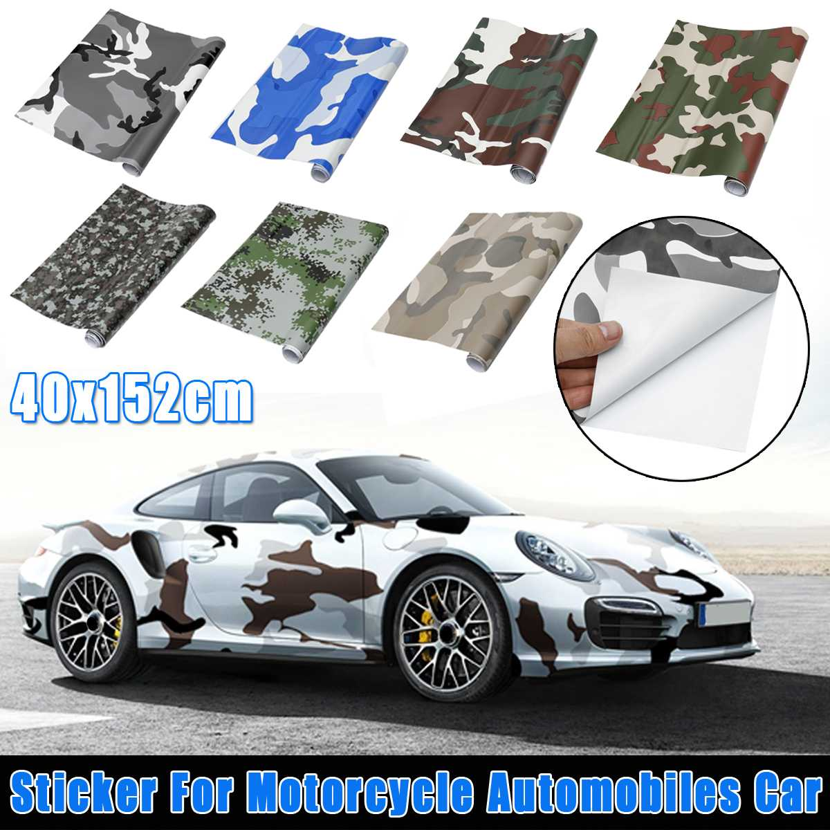 40x152cm Motorcycle Car <font><b>Stickers</b></font> Decals DIY <font><b>Camouflage</b></font> Vinyl Film Car Wraper Skin Film For Car <font><b>Bike</b></font> Laptop Scooter Motorcycle image