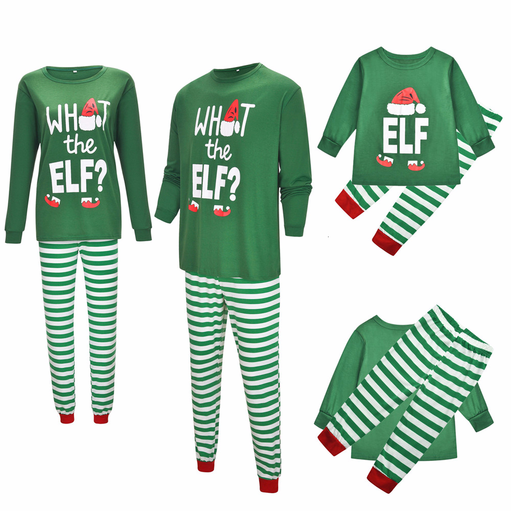 Family Matching Christmas Adult <font><b>Mother</b></font> <font><b>Daughter</b></font> <font><b>Pajamas</b></font> <font><b>Sets</b></font> Letter Print Xmas Sleepwear Stripe Pants Nightwear Clothes Outfit image
