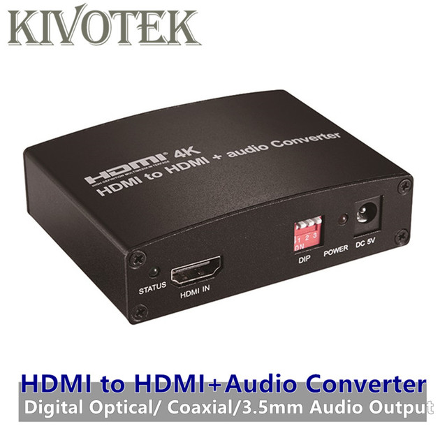 4K HDMI To HDMI+Audio Converter Adapter OpticalCoaxial3.5mm Audio to Amplifer/Speaker,EDID Control For DVD HDTVs Free Shipping