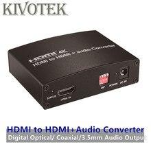 4K HDMI a HDMI + Adaptador convertidor de Audio OpticalCoaxial3.5mm Audio a amplificador/altavoz, EDID Control para DVD HDTVs envío gratis